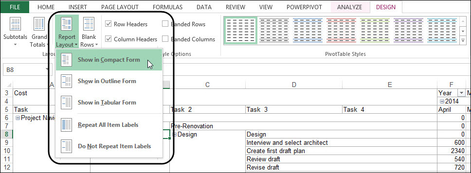 Figure 5: Select the Show in Compact Form option