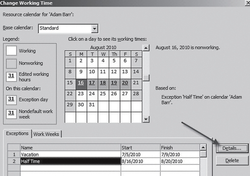 When Are You Working? Updating a Resource Calendar