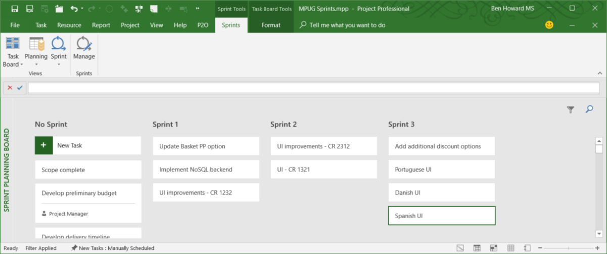 Using Sprint Projects in Microsoft Project | MPUG