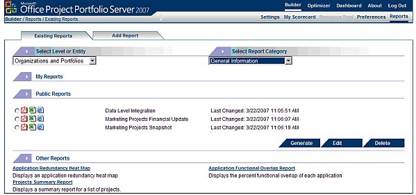Managing Reports with Project Portfolio Server 2007